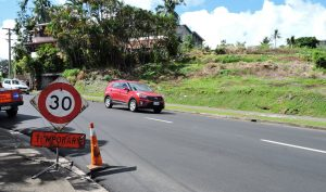 Road surface improvement work at Waimanu Road in Suva
